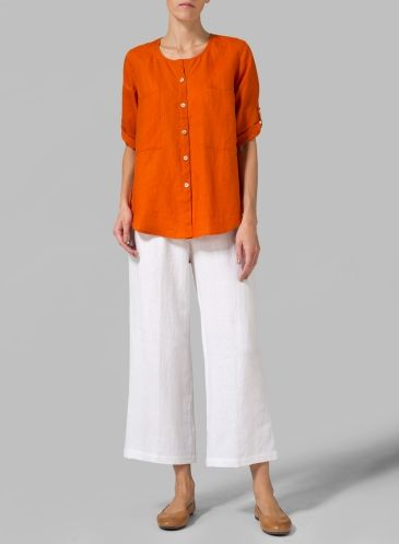 Linen Rolled-up Sleeve Blouse