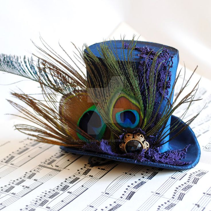 Victorian Mini Top Hat with Peacock Feathers by RagDolliesMadhouse