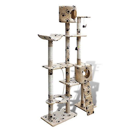 Festnight Cat Tree Scratching Post 69 2 Condos Beige with Paw Prints * Be sure to check out this awesome product.