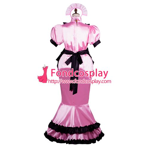 Sissy maid satin dress lockable Uniform cosplay costume Tailor-made[G3761]