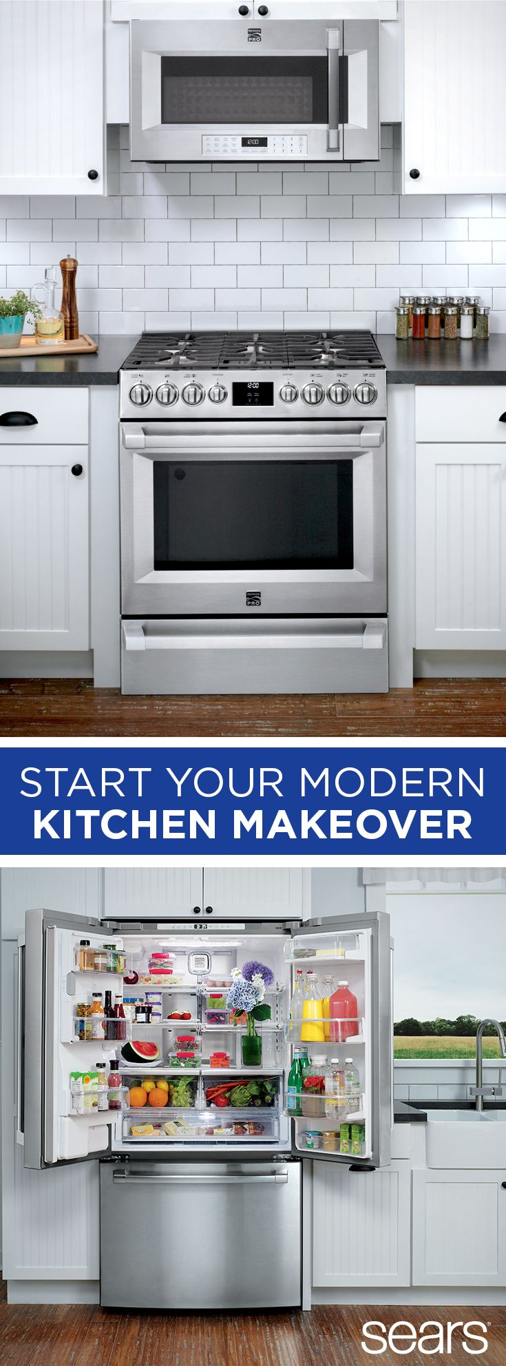 Stainless steel appliances are a timeless choice. Whether you're moving into a new home or remodeling to create a dream kitchen, choose Sears appliances. We love the space saving Kenmore Elite bottom freezer refrigerator for organized food storage that fits more fresh ingredients. For cooking and baking, opt for the Kenmore Pro 72583 gas range. With five burners and a true convection oven, it's both beautiful and functional. Discover more at Sears and shop appliances bundles online and in…