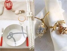 déco de table de style maritime - corde, lanterne rouge et rond de serviette en corde et coquillages Bursa