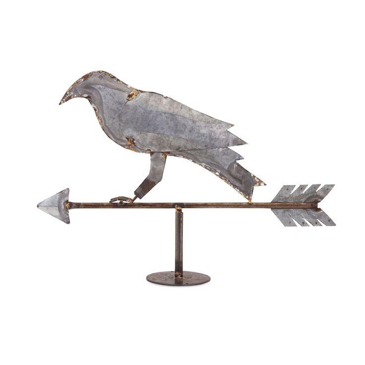 Imax Crow Weather Vain (Statue/Dcor), Grey, Size Small (Ceramic)