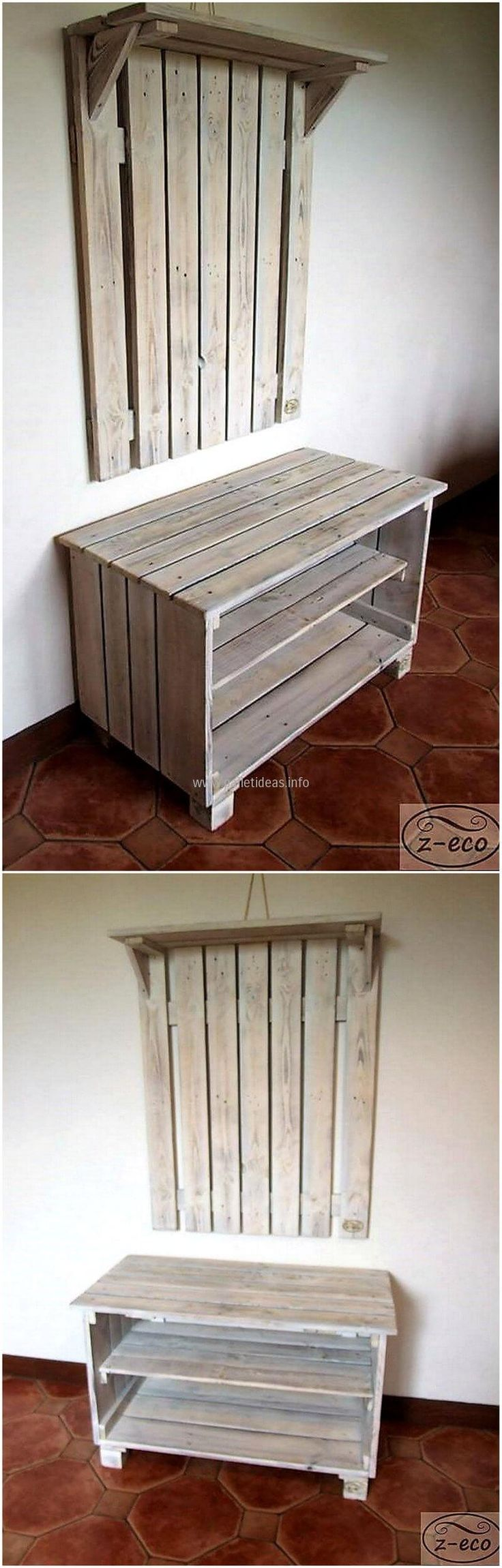 pallets shoe rack and wall hanger