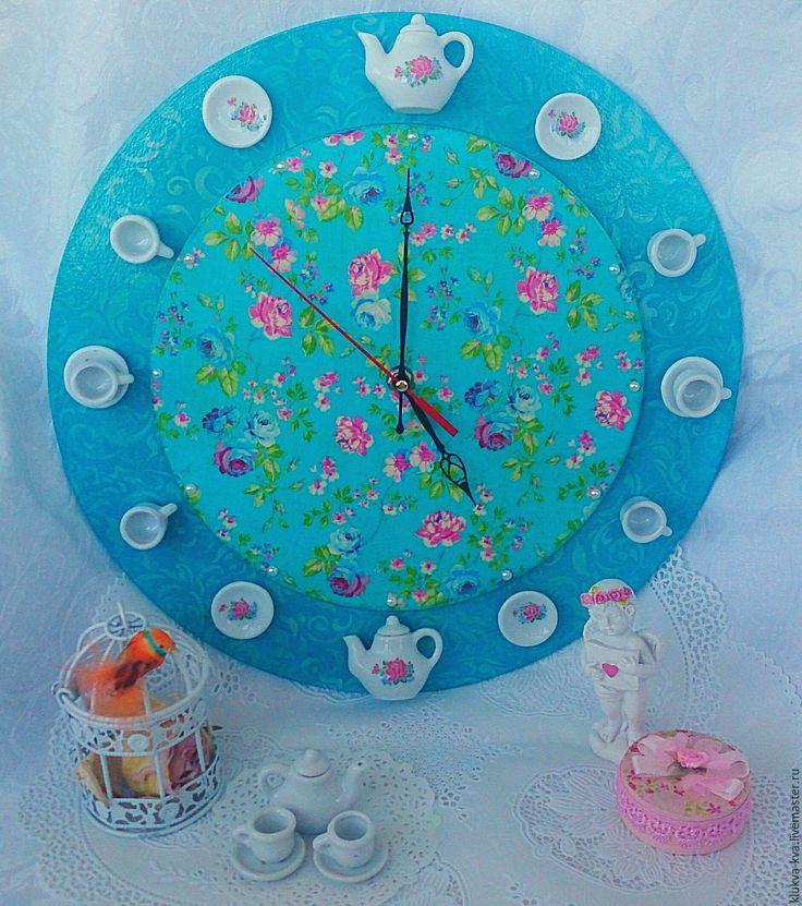 """Купить Настенные часы """"Бирюзовое чаепитие"""" - бирюзовый, часы настенные, часы интерьерные, часы для кухни"""