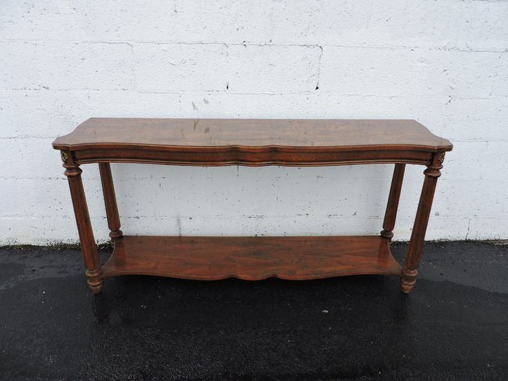 Long narrow vintage console table tv stand by gordon 39 s for Long narrow console