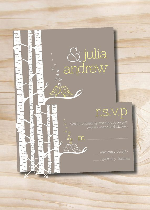 Birch Tree Lovebirds Wedding Invitation and Response Card