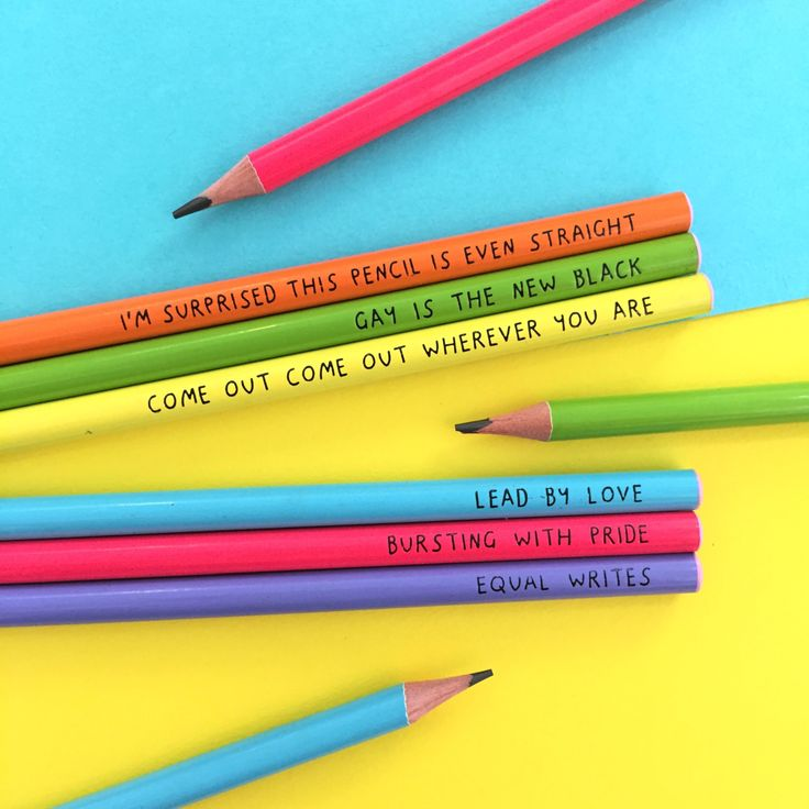 """U Studio are super PROUD to launch these colourful rainbow pencils celebrating all things LGBT.   Each rainbow hued pencils comes with its own witticism:  """"I'm surprised this pencil is even straight"""" """"Come out, come out wherever you are"""" """"Equal writes""""  """"Bursting with pride"""" """"Gay is the new black""""  #design #illustration #gift #product #fun #cute #stationery #ustudio #lgbt #gay #lesbian"""