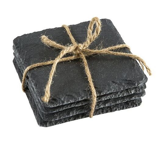 Protect your surfaces with these attractive and practical coasters from Tesco. Handcrafted with a natural fringe, this set of 4 slate coasters are further complemented by a distinctive texture finish. | Tesco
