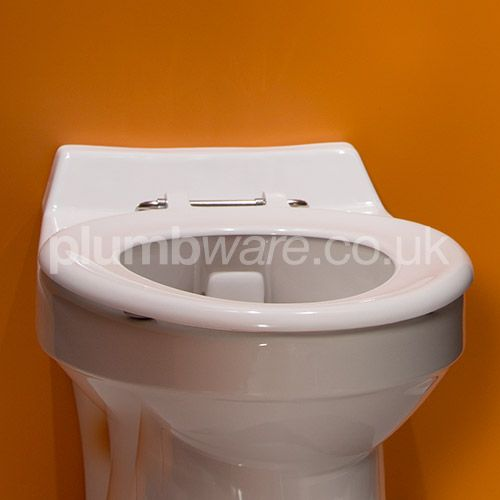 Heavy duty school seat for use with Junior Toilet Pan. Supplied with stainless steel top fix hinges.