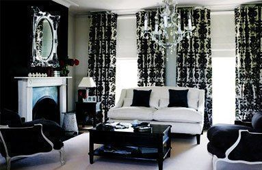 black and white damask decorating ideas | Black and White Living Room Ideas