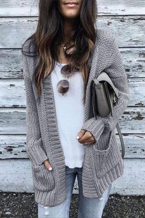 Weststylish Medium Long Thick Cardigan Sweater