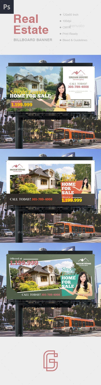 Real estate billboard design samples - Real Estate Billboard Banner Template Psd