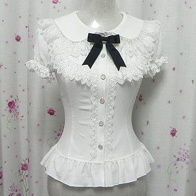 Candy Princess White Chiffon Short Sleeve Sweet Lolita Blouse - USD $ 29.99