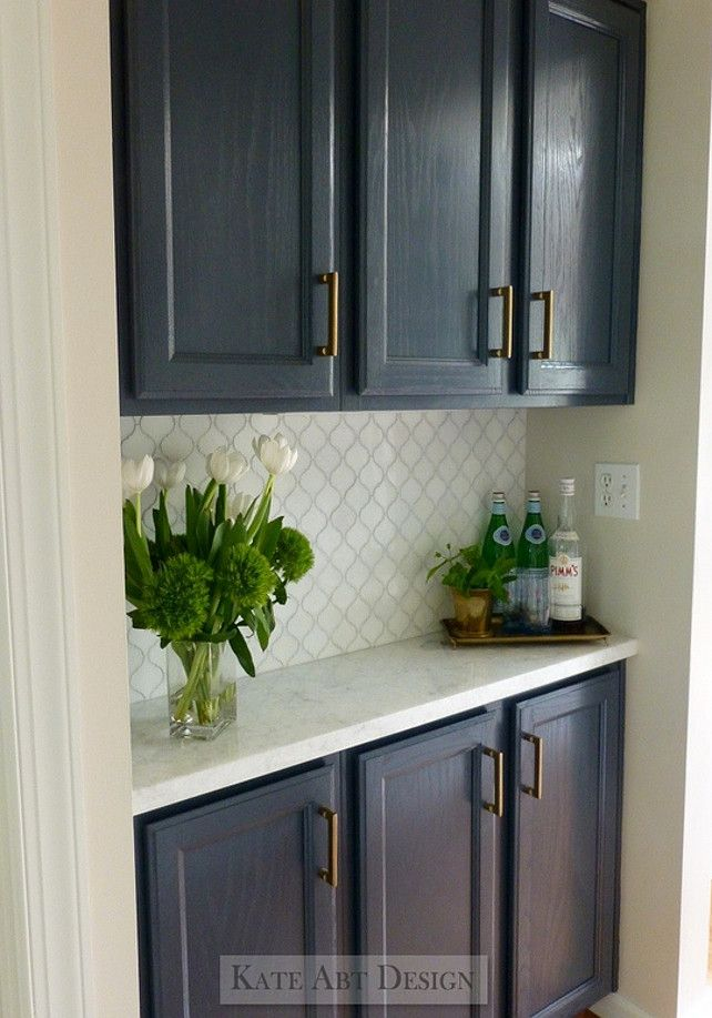 BM Hale Navy Paint, Marble Counter And Tile, Designer Carried Same Hardware  Through From Kitchen. If You Look Closely It Appears That This Cabinet Has  An ...