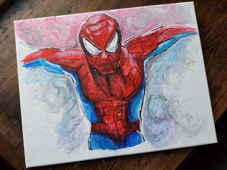 Spiderman using acrylic paints