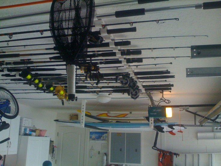 13 best images about fishing rod holders on pinterest for Garage door fishing rod holder