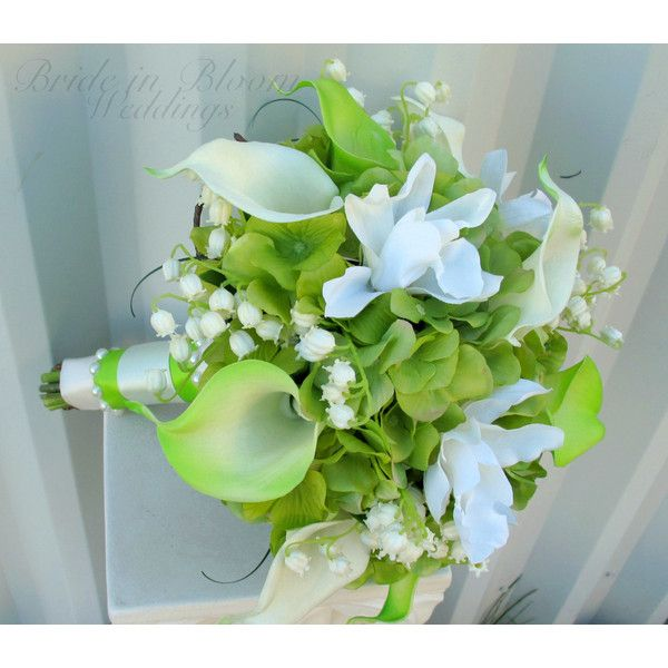 Lime Green Wedding Bouquet Calla Lily Orchid Lily of the Valley Bridal... (£90) ❤ liked on Polyvore featuring bouquets, decorations, grey and weddings