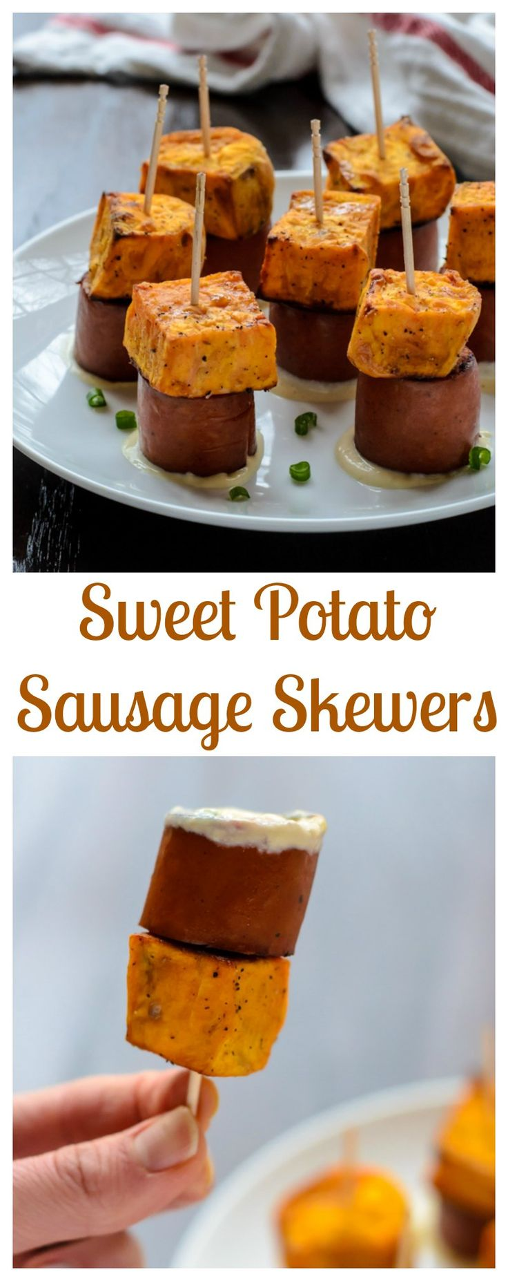 Sweet Potato Sausage Skewers. An easy, healthy appetizer recipe. {USA}