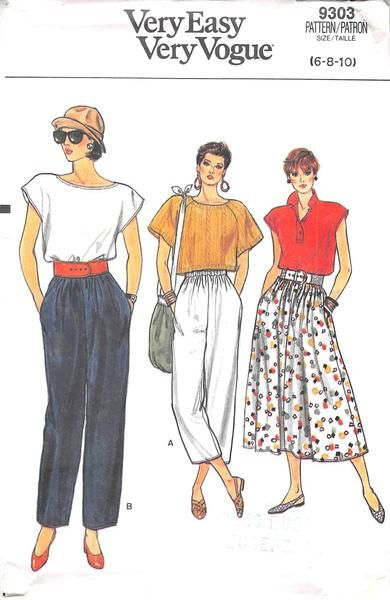Slightly flared skirt, below mid-calf or straight-legged pants, ankle length or above ankle length, have elastic waistband and side pockets. Narrow hem. Purchased top. Our PRE-OWNED patterns are all U