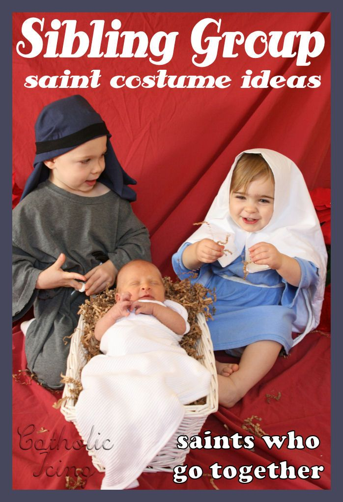 This post has a whole list of group costume ideas so you can dress your kids up as Saints who go together. So much fun for All Saints' Day! :-)