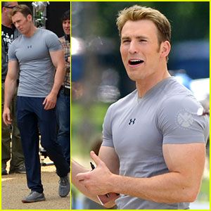 Chris Evans Flaunts Huge Biceps on Captain America The Winter Soldier set!