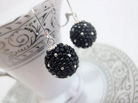 Unique silver black beaded earrings black beaded bead earrings dangle earrings drop earrings globe lever-back earrings silver polka dot