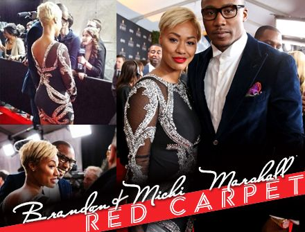 Brandon & Michi Marshall look stunning together on the NFL Honors red carpet in Alyce Paris