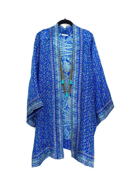 Silk kimono jacket / beach cover up / in blue and by Bibiluxe