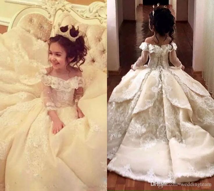 Vintage Lace Appliqued Pageant Dresses With Long Sleeves Ball Gown Flower Girl Dress Off Shoulder Sweep Train Kid First Communion Gowns Girl's Pageant Dresses Communion Dress Communion Dresses for Girls Online with $119.5/Piece on Weddingteam's Store | DHgate.com
