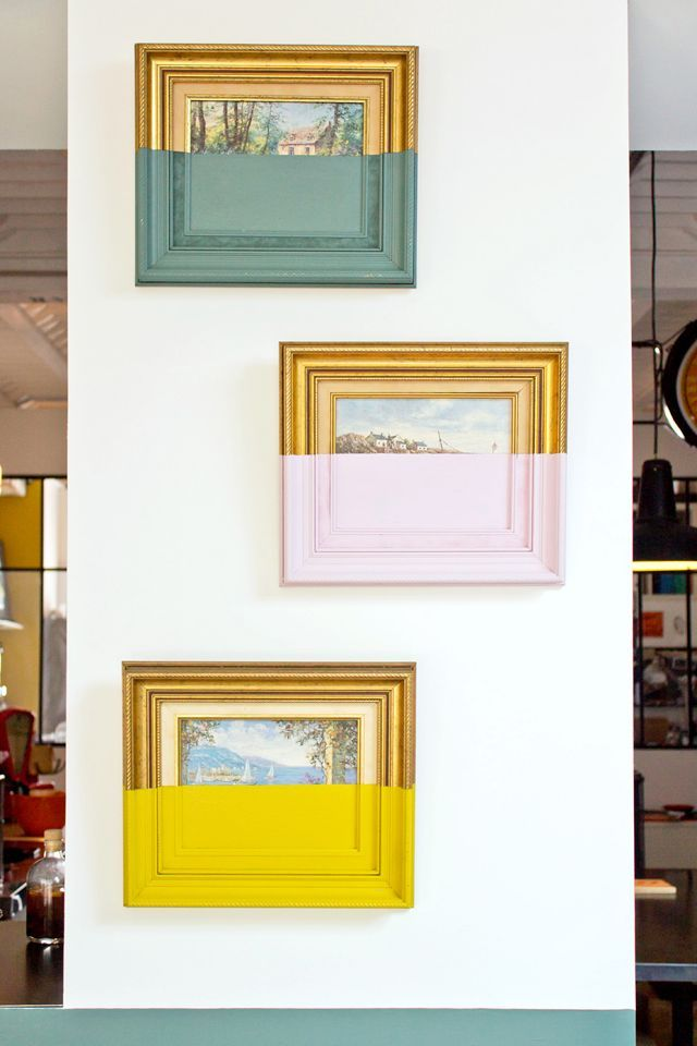Dip-dyed antique frames make a stylish statement wall | The best interior DIY projects | Go to www.redonline.co.uk for more easy and fun decorating ideas like this.