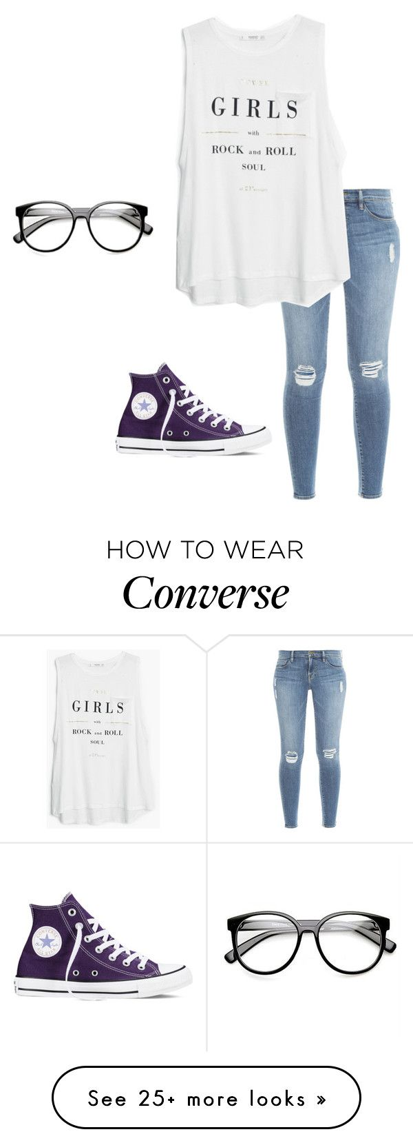 """""""hello it's me...."""" by moonhauntedmyocean on Polyvore featuring Frame Denim, MANGO, Converse and ZeroUV"""