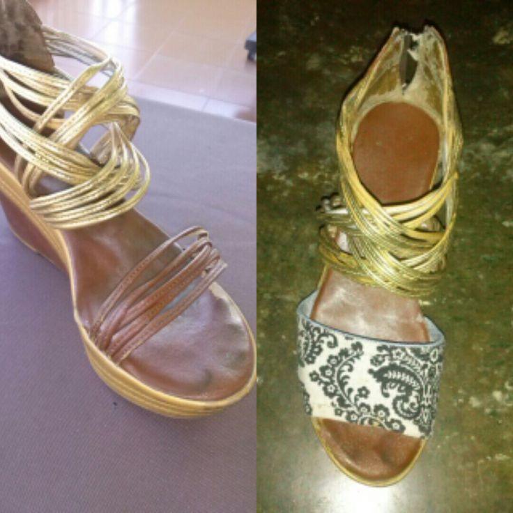 Customizando unas sandalias con tela estampada! Atrévete