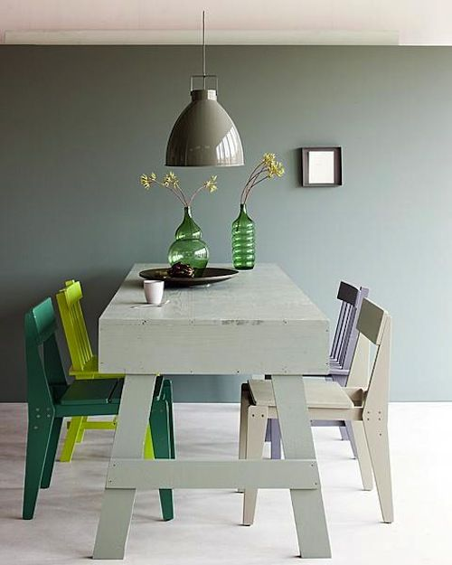 Green and gray Wall color