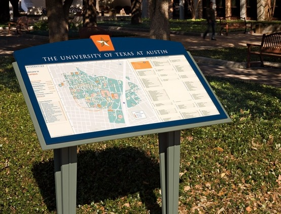 Wayfinding map sign at UT Austin campus