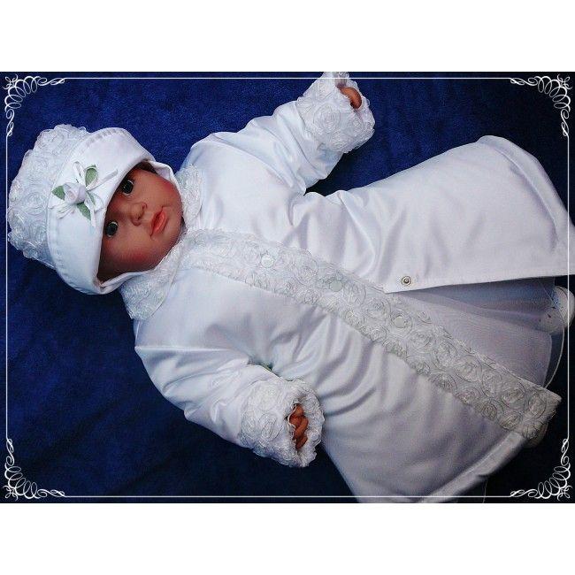 Satynowy #płaszczyk na ocieplanej podszewce doskonale uzupełni #ubranko do #chrztu w chłodniejsze dni.