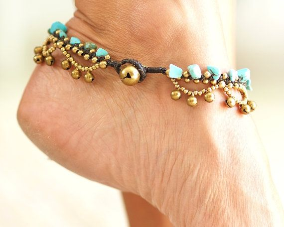 Turquoise Anklet Gypsy Style  ◀▶ Made out of waxed cotton, brass and turquoise color stones ◀▶ brass bell locket ◀▶ Making jingle bells sound  ▶ Anklet length is 25 cm long (10 inches).  For more Anklets Click Here: https://www.etsy.com/shop/HagarTalmor?section_id=18541003  Feel free to contact me with any questions or requests Thank you ♥