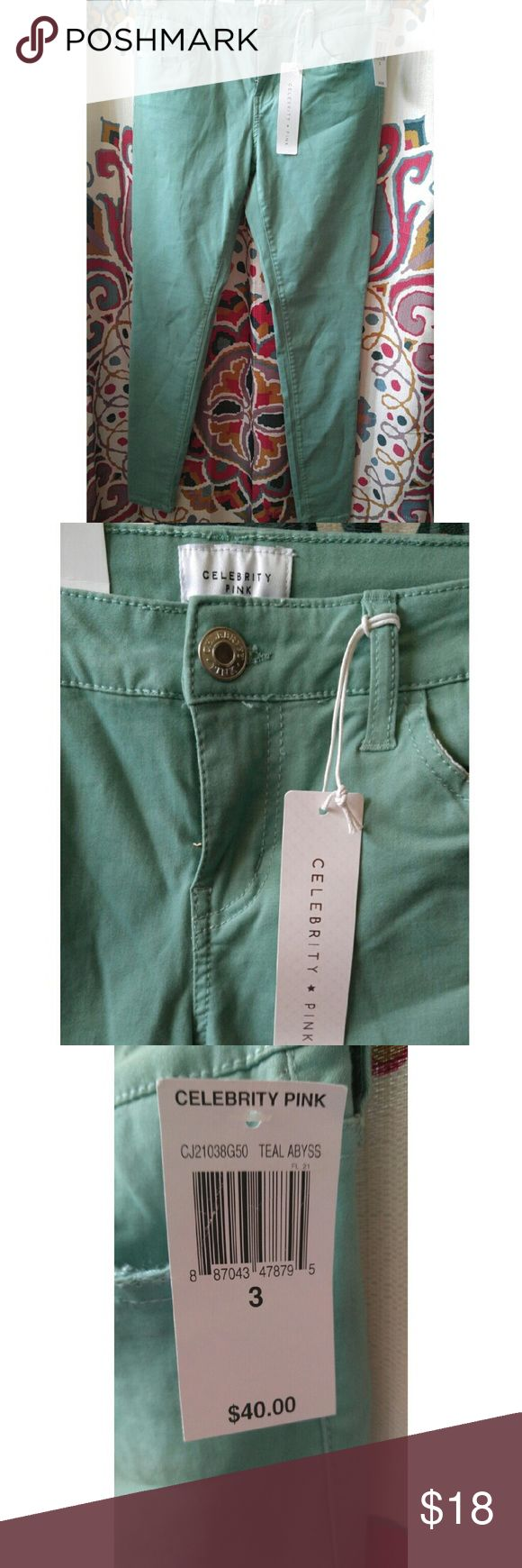Women's Teal Skinny Jeans New with tags, never worn teal size 3 women's skinny jeans. Celebrity Pink Pants Skinny