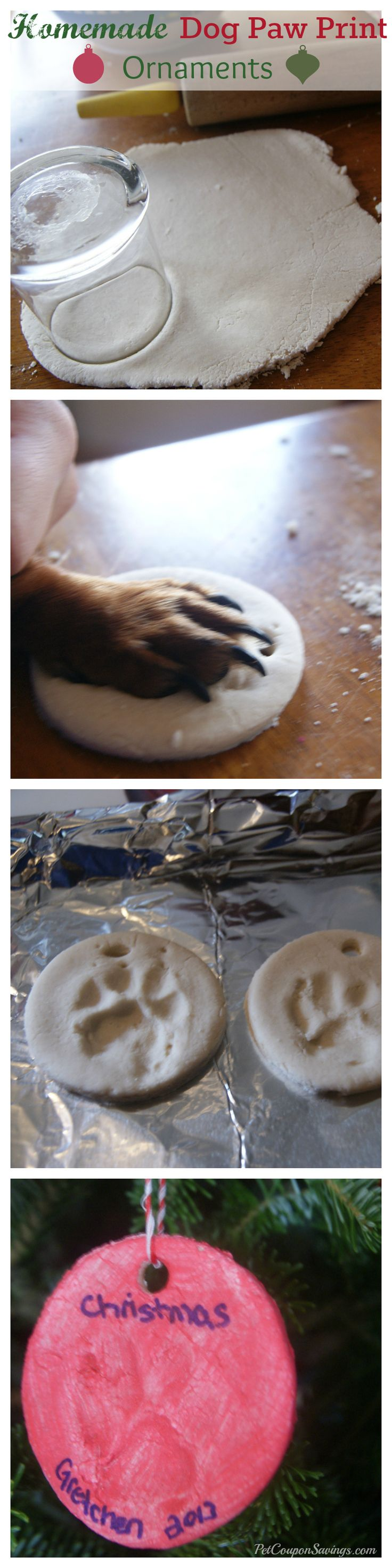 Homemade Dog Paw Print Ornaments. How cute are these? They're so easy to make, too! #diy #homemade #Christmas #pets