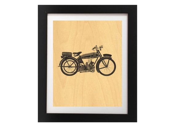 Vintage Motorcycle Black and White Print  by TheWoodPaperShoppe