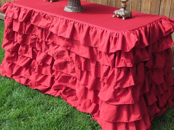 Christmas Ruffled Red Tablecloth for 8 ft by MyHauteStuff on Etsy