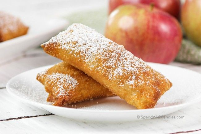 Apple Pie Egg Rolls! Crispy egg roll crust with a warm apple pie filling... if you liked the OLD McDonalds Apple Pies, you will LOVE these!