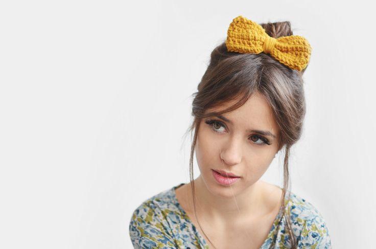 earthy colours Yellow hair bow / Hand Crocheted from Plexida via en.dawanda.com