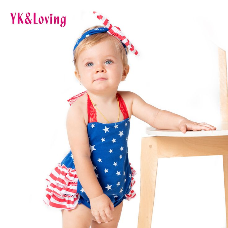 >> Click to Buy << Newborn Romper American Independence Day Blue Strap Jumpsuit for Little Girls Baby Celebration Party with Star Printed 2017New #Affiliate