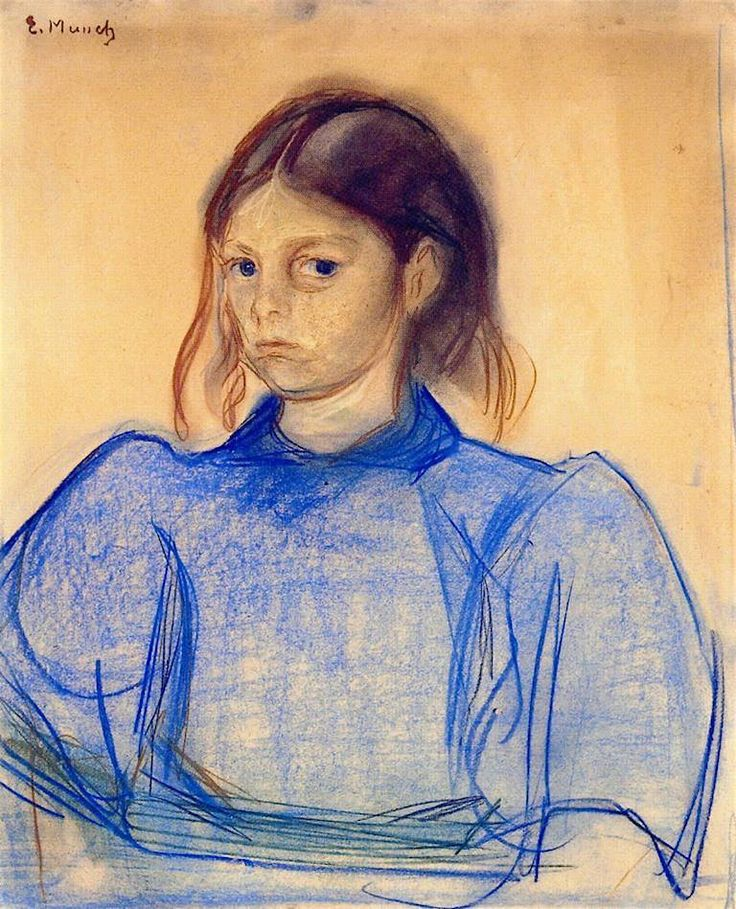 Edvard Munch - Young Woman in Blue - 1891