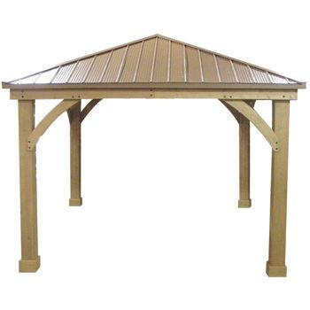 Wood gazebo 12 ft x 12 ft with aluminum roof outdoor for Garden decking with gazebo
