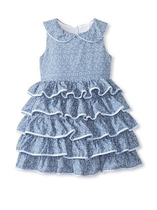 44% OFF Pippa & Julie Girl's Chambray Printed Dress (Blue)