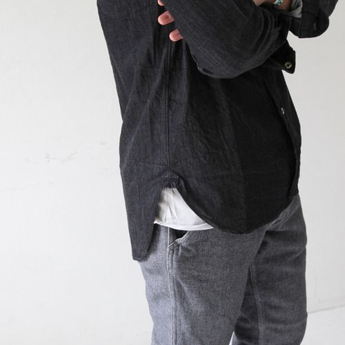 dark simple button up. maybe gray sweater or dark jacket.  jeans or dark khakis. again, simple, understated.