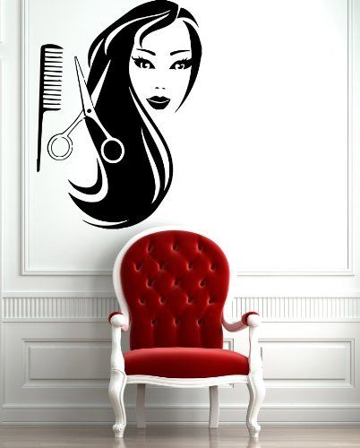 Female Face Hot Sexy Hair Spa Salon Mural Wall Art Decor Vinyl Sticker z597 by Easy Vinyl, http://www.amazon.com/dp/B00CLNOWRG/ref=cm_sw_r_pi_dp_Wn61rb0NQ54QC