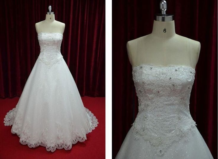 Strapless Embroidery Lace Wedding Dress Corset Back Bridal Ball Gown JY13019